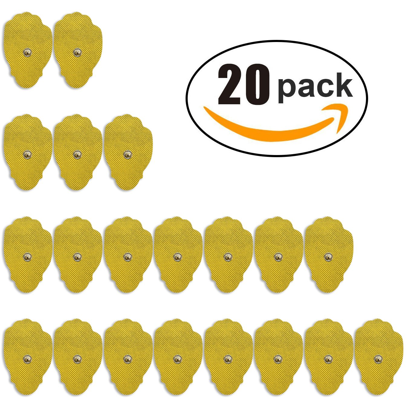 Smart Relief 20-Pack of Large Self-Adhesive Replacement TENS Pads for TENS & EMS Devices - 3'' x 1.8'' Reusable & Universal Snap-on TENS Pads by Smart Relief (Image #1)