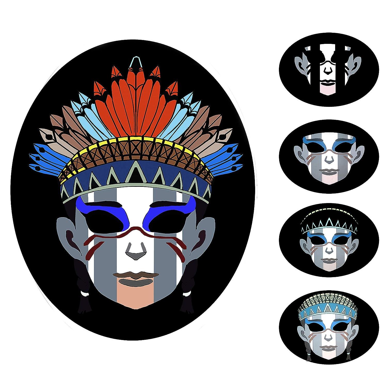 7モードハロウィーンLEDマスク、サウンドアクティベートライトアップフェイスマスク 9点滅効果 レイブミュージックダンスパーティー  Indian Girl B07HD95YTN