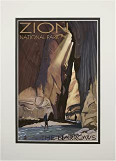 product image for Zion National Park, Utah - The Narrows (11x14 Double-Matted Art Print, Wall Decor Ready to Frame)