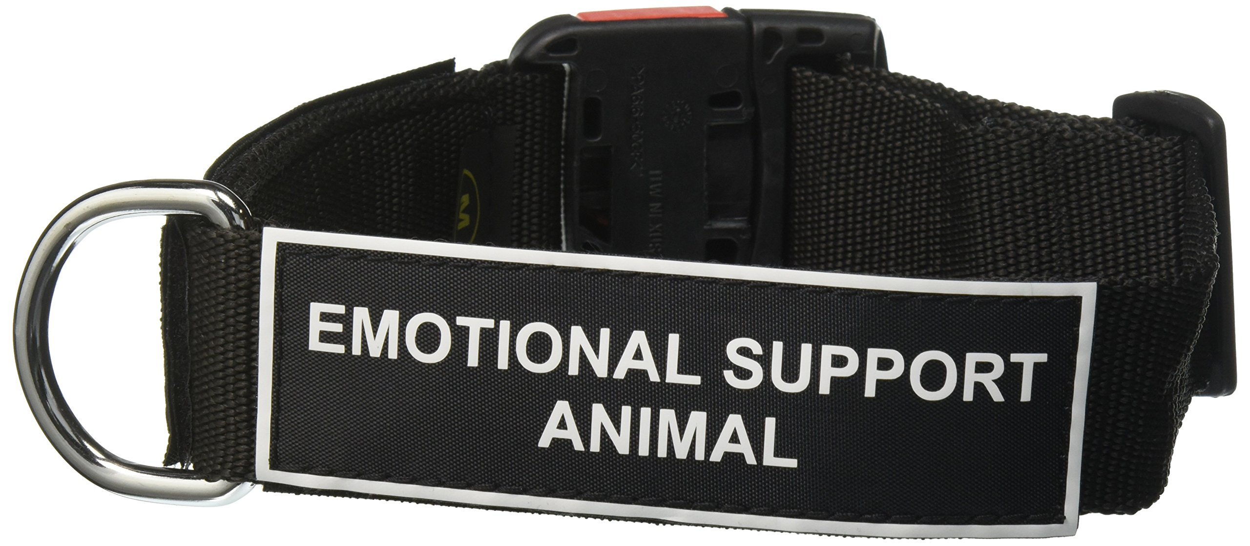 Dean and Tyler ''Patch Collar'', Nylon Dog Collar with EMOTIONAL SUPPORT ANIMAL Patches - Black - Size: Medium - Fits Neck 21-Inch to 26-Inch