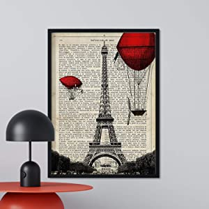 Nacnic Prints Paris, Eiffel Tower - Set of 1 - Unframed 11x17 inch Size - 250g Paper - Beautiful Poster Painting for Home Office Living Room