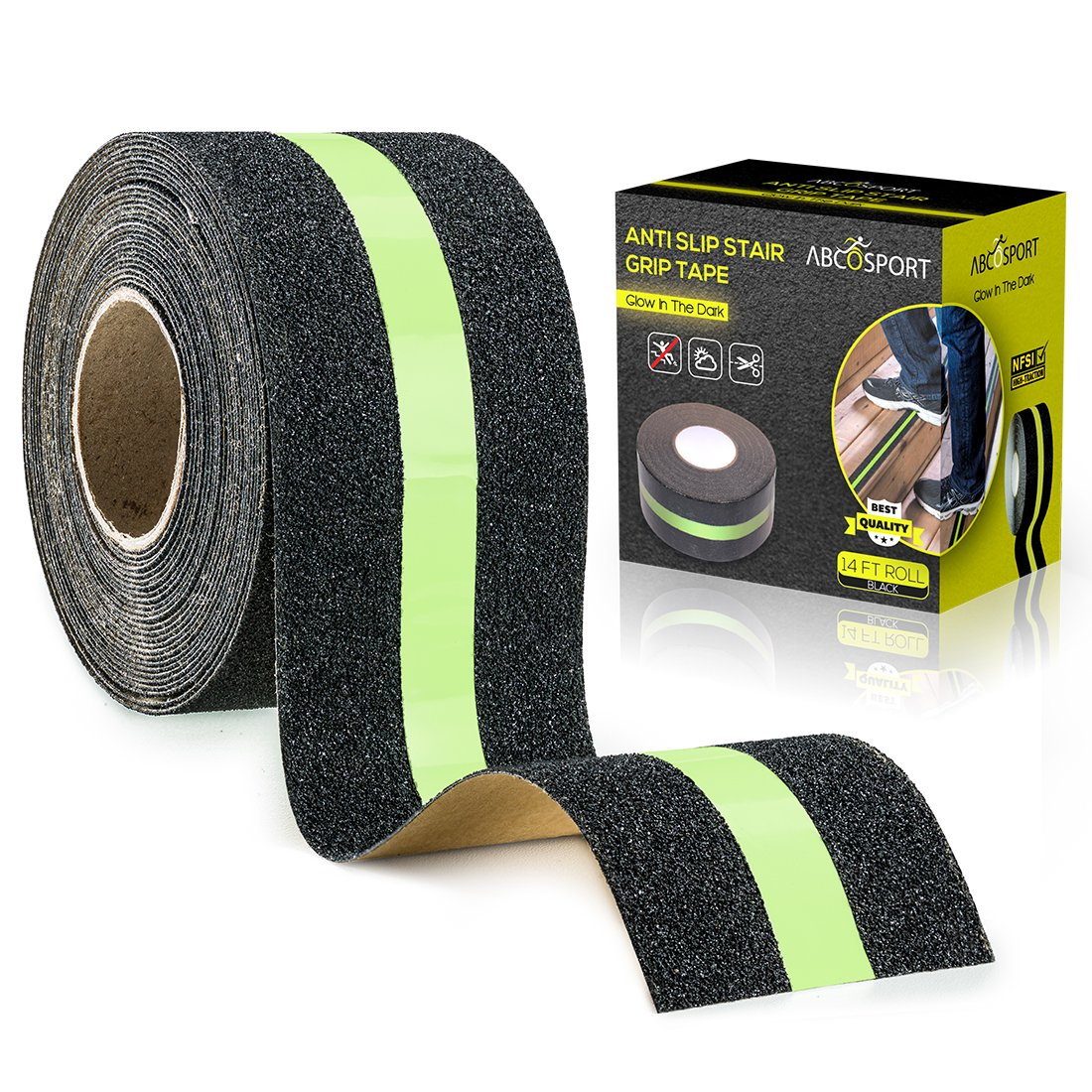 """Anti-Slip Grip Tape – Glow-in-Dark for Local Illumination - Improves Grip and Prevents Risk of Slippage on Stairs or Other Slippery Surfaces - 2"""" Wide and 14' Long Roll - Keeps You Safe!"""