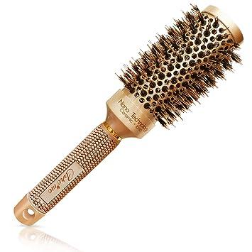 Cepillo Redondo con cerdas Naturales de Jabalí para secado del cabello, alisado, rizado - consiga salón con brillo y volumen (3,2 cm) - mejor cepillo ...