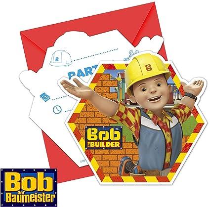 6 Invitaciones Bob El Constructor Plus 6 Sobres