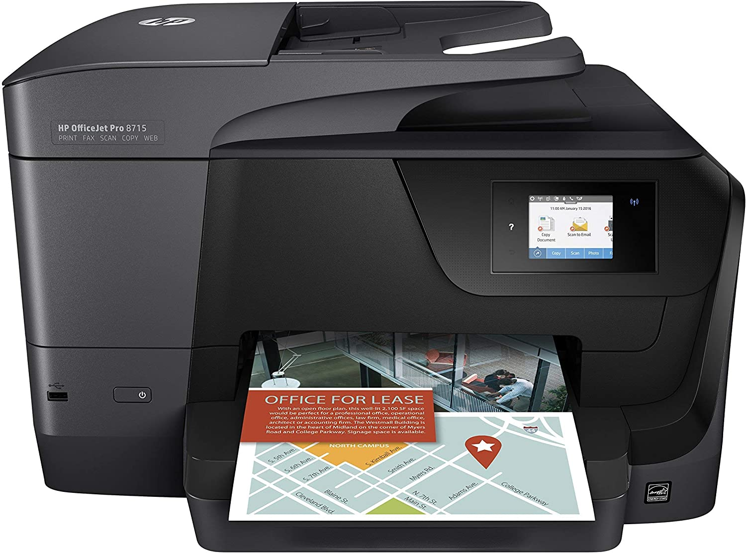 HP Officejet Pro 8715 All-in-One Multifunction Printer - Thermal Inkjet - Print/Copy/Scanner/Fax (Renewed)