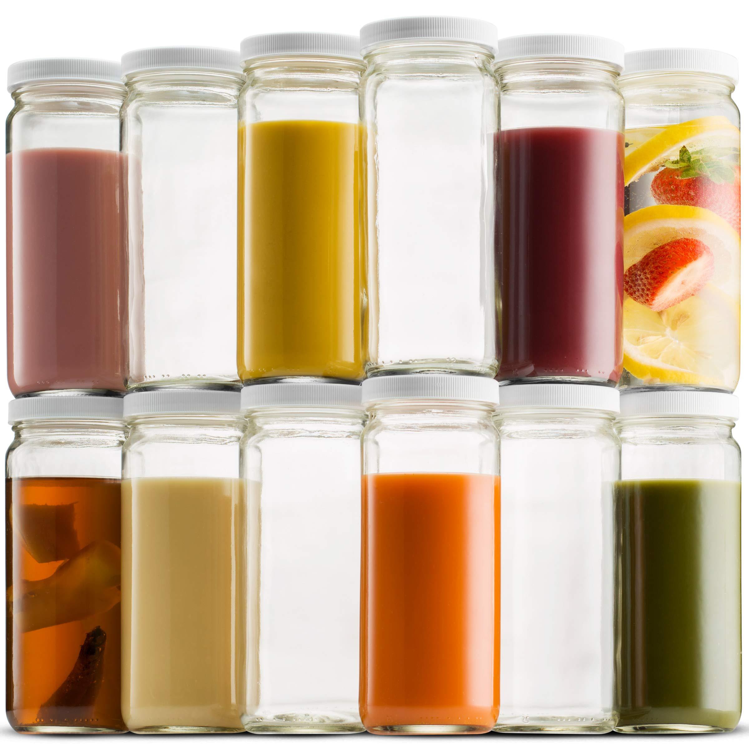Travel Glass Drinking Bottle Mason Jar 16 Ounce [12-Pack] BPA-Free Plastic Airtight Lids, Reusable Glass Water Bottle for Juicing, Smoothies, Kombucha, Tea, Milk Bottles, Homemade Beverages Bottle, by Paksh Novelty