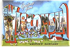Greetings from Wisconsin Fridge Magnet (2.5 x 3.5 inches) style A