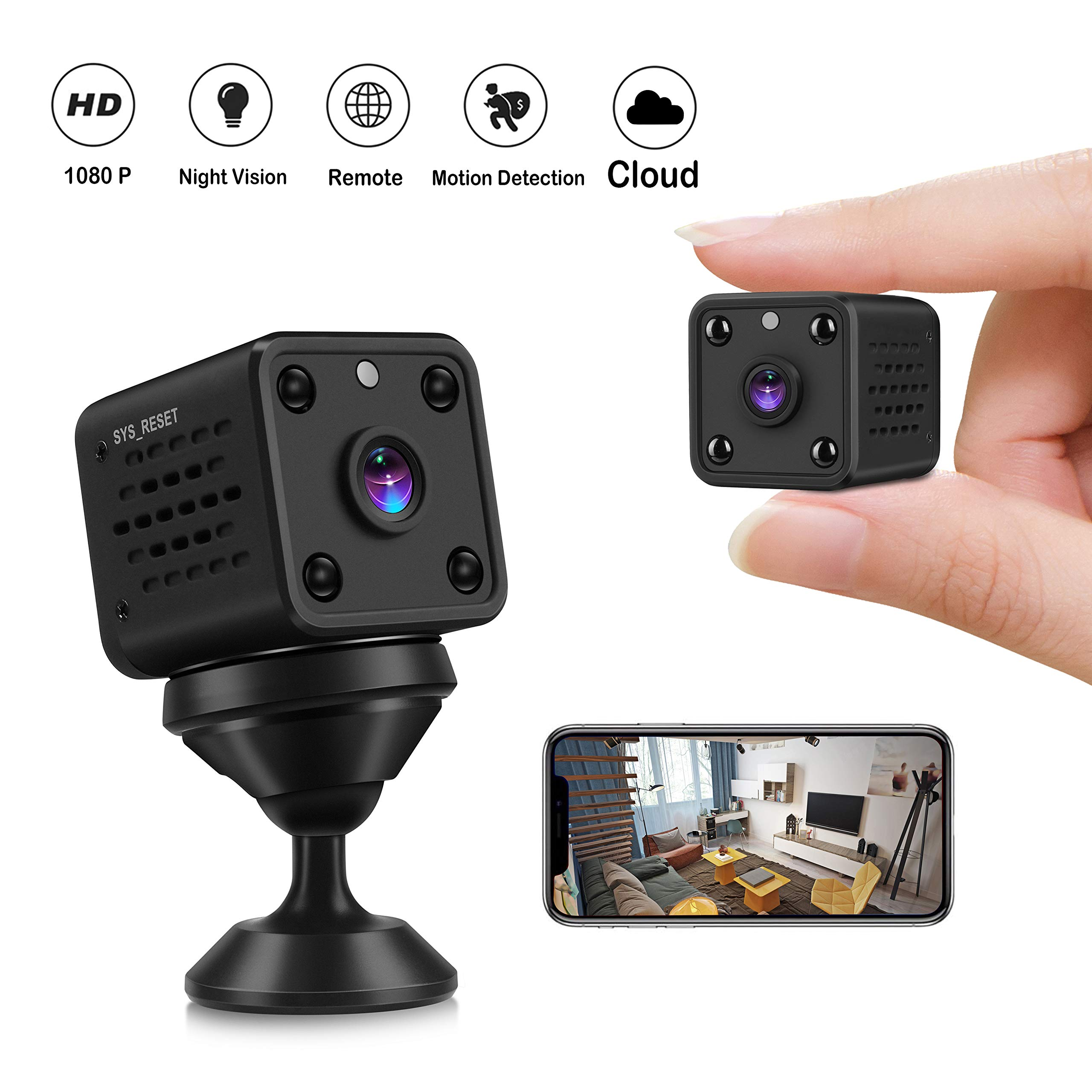 Mini Camera - CUSFLYX Tiny Portable 1080P WiFi Full HD Nanny Pet Office Sports Garage Home Surveillance Camera Auto IR Night Vision 150° Wide Angle Motion Detection Remote Video for Android and iOS by CUSFLYX