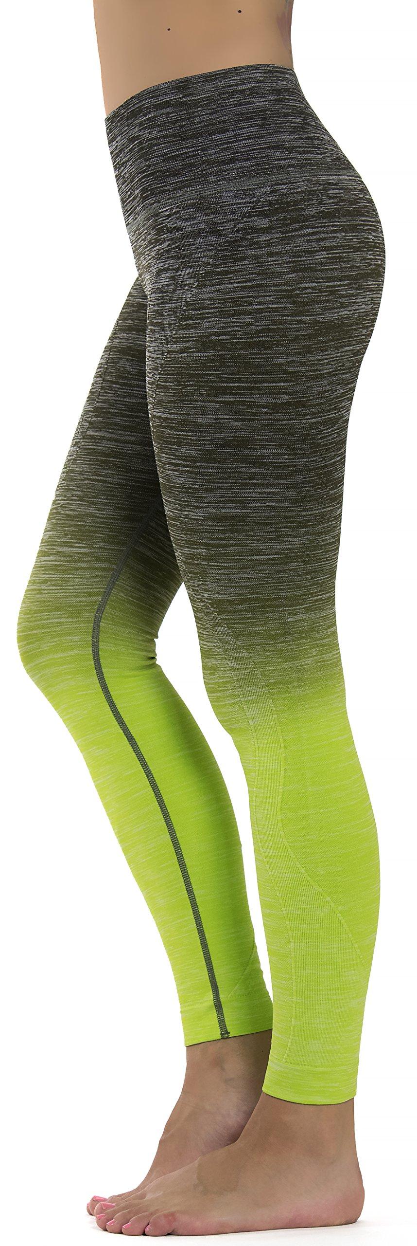 Prolific Health Fitness Power Flex Yoga Pants Leggings XS - XL (X-Large, Kale/Neon Green)