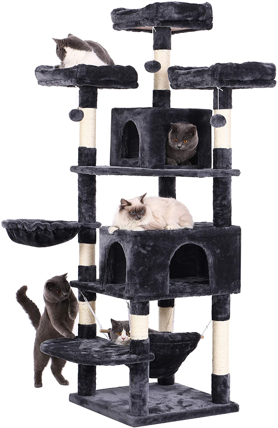 BEWSIHOME Cat Tree 66.3 Inch Multi-Level Large Cat Tower with Plush Top Perches, Sisal Scratching Post Cat Play House Kitty Activity Center MMJ14