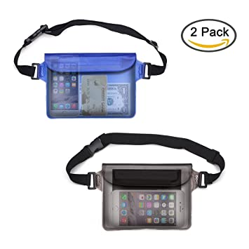 3bd1c865a8e5f Ilyever 2 Pack Waterproof Bag Pouch with Waist Strap for Boating ...
