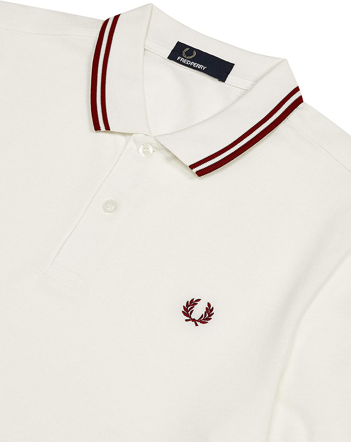 Fred Perry Hombres Polo con doble punta m3600 H98 Blanco: Amazon ...