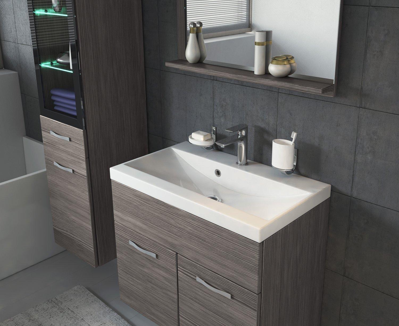 grey Storage cabinet vanity unit sink furniture Bathroom furniture set Rio 60cm basin Bodega