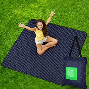 """ISOPHO Outdoor Picnic Blanket Extra Large, Machine Washable Fold Camping Blanket, 3-Layer Sand Proof and Waterproof Picnic Mat, 67""""X 79"""" Portable Blanket for Camping, Park, Beach, Hiking, Family"""