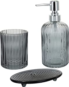 G Decor England Designer 3-Piece Smoky Grey Modern Pressed Glass Bathroom Accessory Set, Includes Liquid Soap or Lotion Dispenser, Toothbrush Holder, Soap Dish