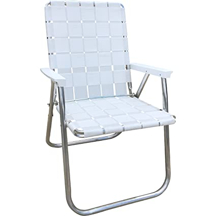 Folding Web Lawn Chairs.Lawn Chair Usa Aluminum Webbed Chair Deluxe Bright White