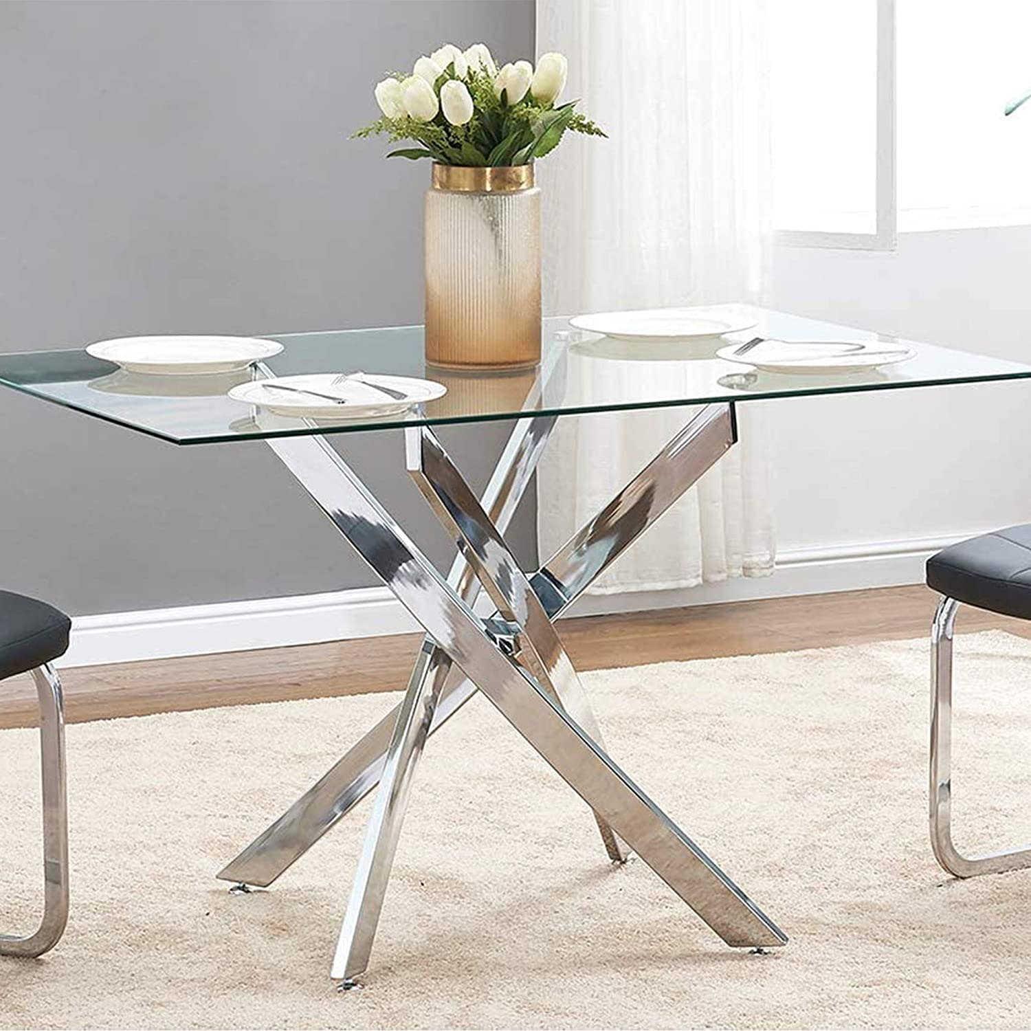 Tonvision Tory Clear Glass Table Rectangle Top Curved Legs 4 6 Seater Chrome Dining Table For Modern Kitchen Room Small Rectangular Area Amazon Co Uk Kitchen Home