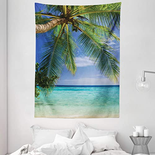 Ambesonne Ocean Tapestry, Tropical Paradise View at Maldives with Palms Clear Blue Sky Seashore Picture, Wall Hanging for Bedroom Living Room Dorm, 60 X 80 , Turquoise Green