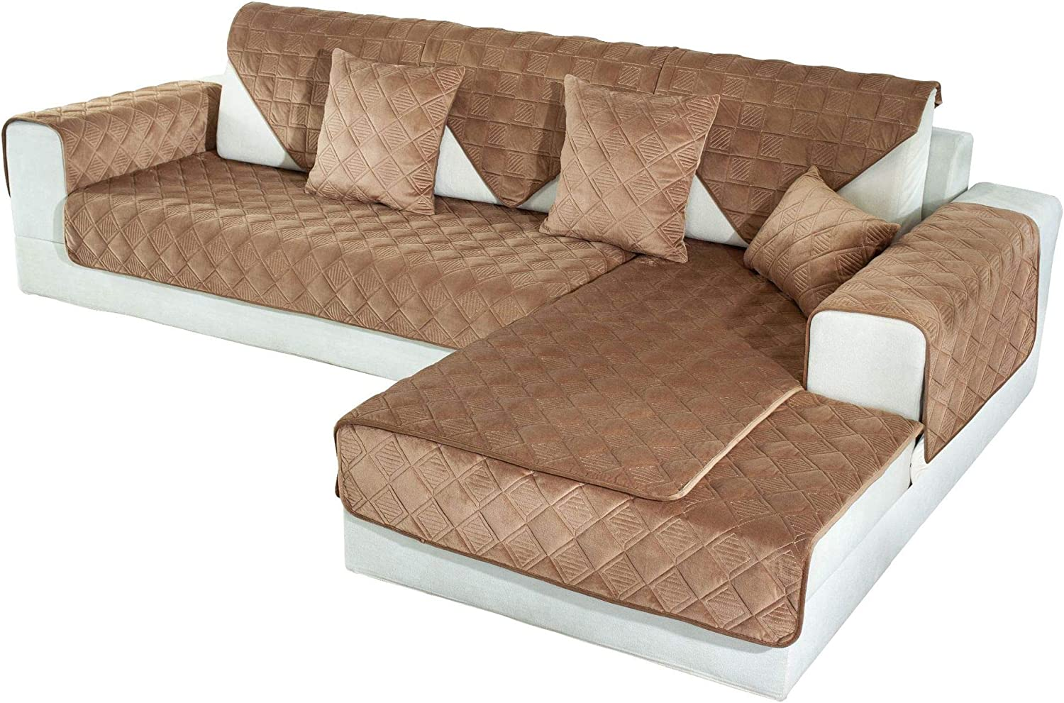 OstepDecor Couch Cover, Sofa Cover, Quilted Sectional Couch Covers, Velvet Sofa Slipcover for Dogs Cats Pet Love Seat Recliner Leather L Shaped, Armrest Backrest Cover, Brown 2pcs 36 x 36 Inches
