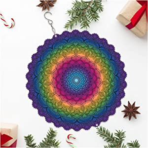 GADNIA Wind Spinners Outdoor Metal Decorations | Stainless Steel Ornament for Mandala Garden Home Decor | Multi Color Metal Sun Catcher Boho Art for Tree Hanging, Backyard