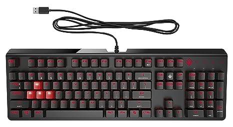 HP Omen 1100 - Teclado mecánico (LED Individual de Color Rojo Oscuro, USB cableado, Anti-ghosting y N-Key Rollover) Color Negro: Amazon.es: Informática