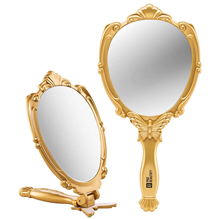 Decorative Handheld Compact Mirror- Embossed Butterfly Design- Folding Handle- Lightweight & Portable- 180 Degrees Full Folding- Premium Quality- Ideal For Your Makeup Routine- Travel Mirror (Gold)