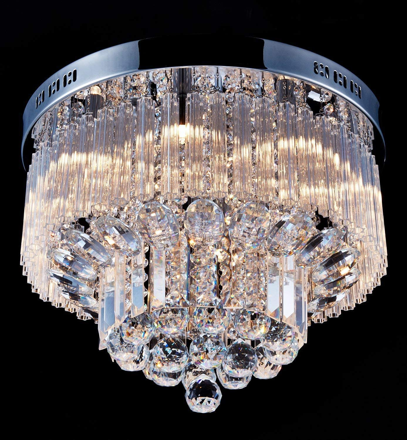 Saint Mossi Chandelier Modern K9 Crystal Raindrop Chandelier Lighting Flush Mount LED Ceiling Light Fixture Pendant Lamp for Dining Room Bathroom Bedroom Livingroom 9 G9 Bulbs Required H12 X D18