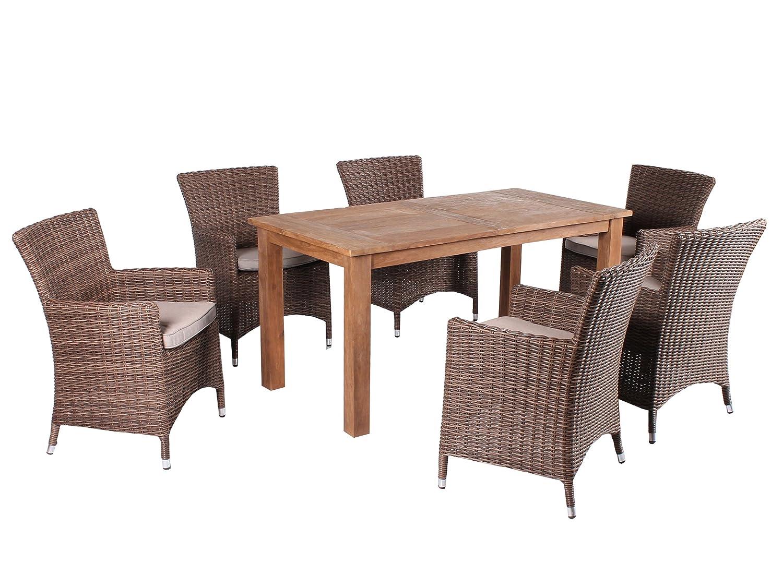 GARDENho.me 7tlg. Teak u. Polyrattan Sitzgruppe Alassio Essgruppe Braun inkl. Sitzkissen, Tisch 160 cm