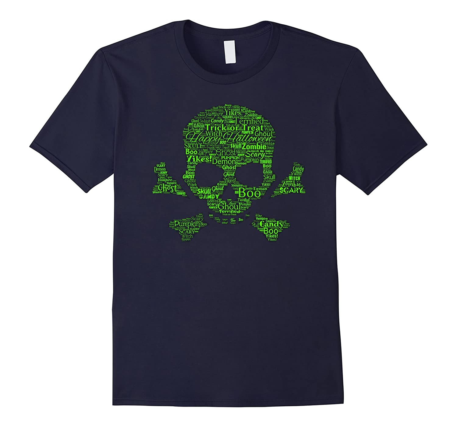 Scary Skull Halloween Word Art T-Shirt-RT