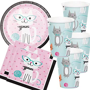 33 Piezas Set de fiesta de * Purr Fect Gatos * con 8 platos ...