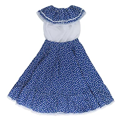 f6fd594f6 Amazon.com: Mexican Clothing Co Womens Mexican Adelita Costume Blouse n  Skirt Poplin one Size Blue 8611: Clothing