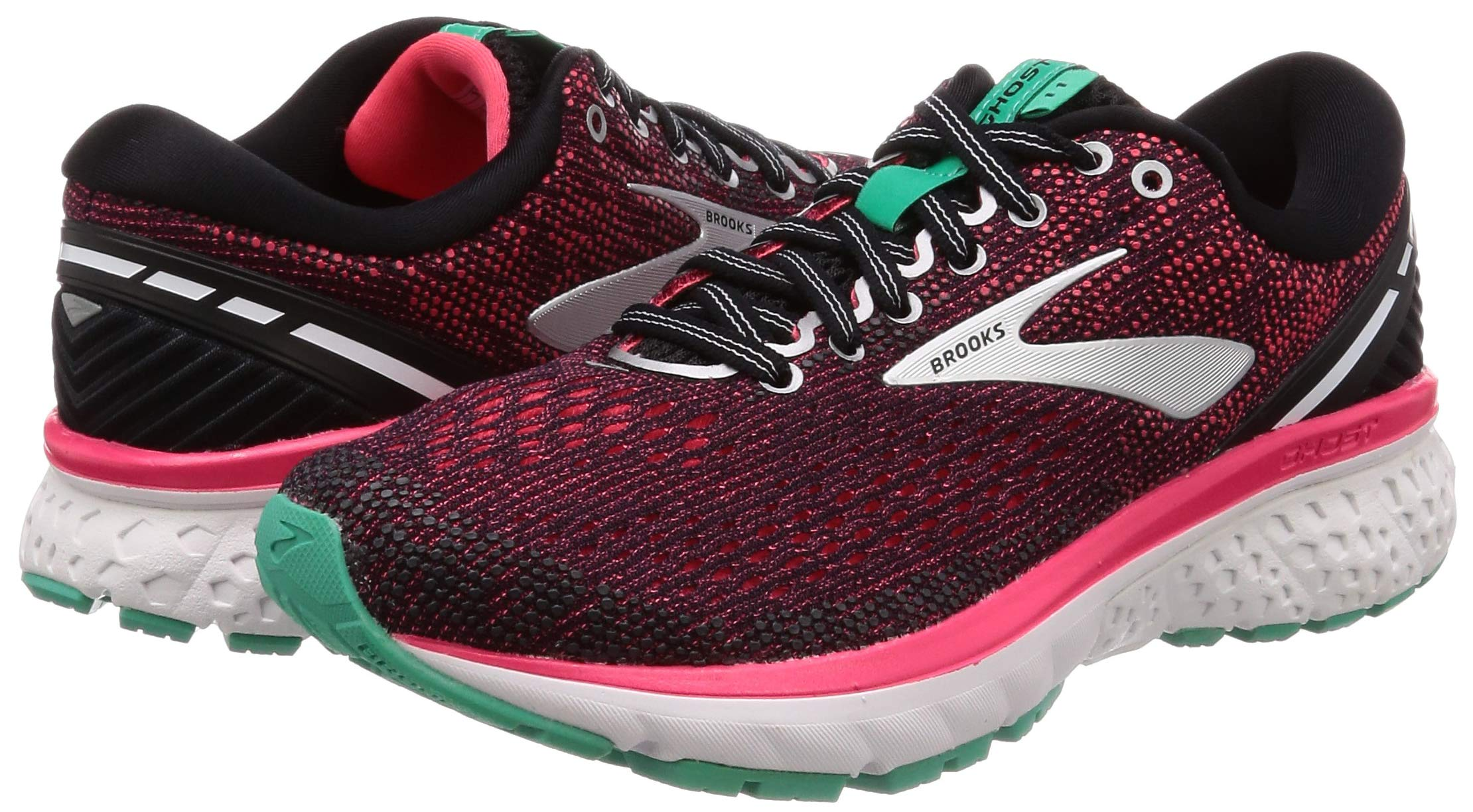 Brooks Womens Ghost 11 Running Shoe - Black/Pink/Aqua - D - 5.5 by Brooks (Image #5)