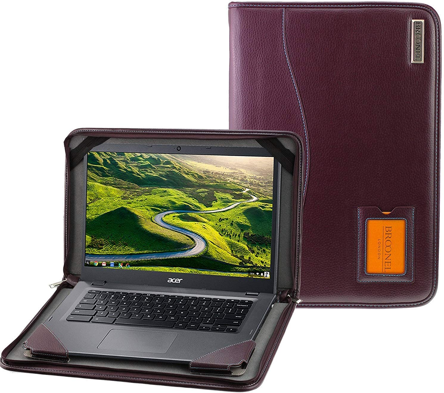 """Broonel - Contour Series - Purple Heavy Duty Leather Protective Case Compatible with The Acer Spin 3 Convertible Laptop 14""""SP314-53N-53SH"""