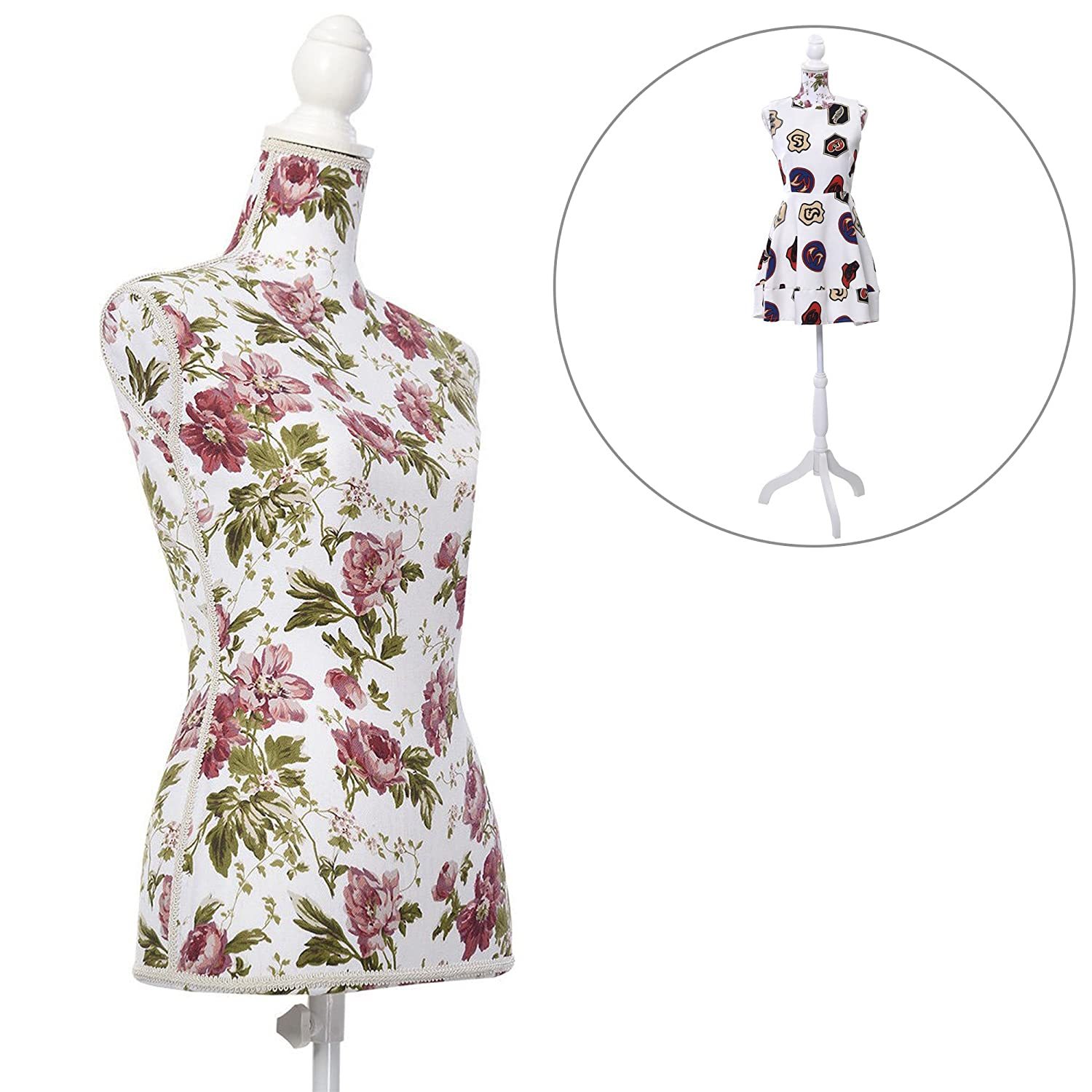 Female Mannequin Torso Clothes Display - Dress Form Body Mannequins W/Tripod Stand Dressmakers Clothing Stores Dummy - Adjustable 51.2' to 66.2' (Rose Pattern) DUSTNIE