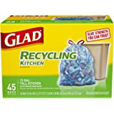 Glad Recycling Tall Kitchen Drawstring Trash Bags, Blue, 13 Gallon, 45 Count