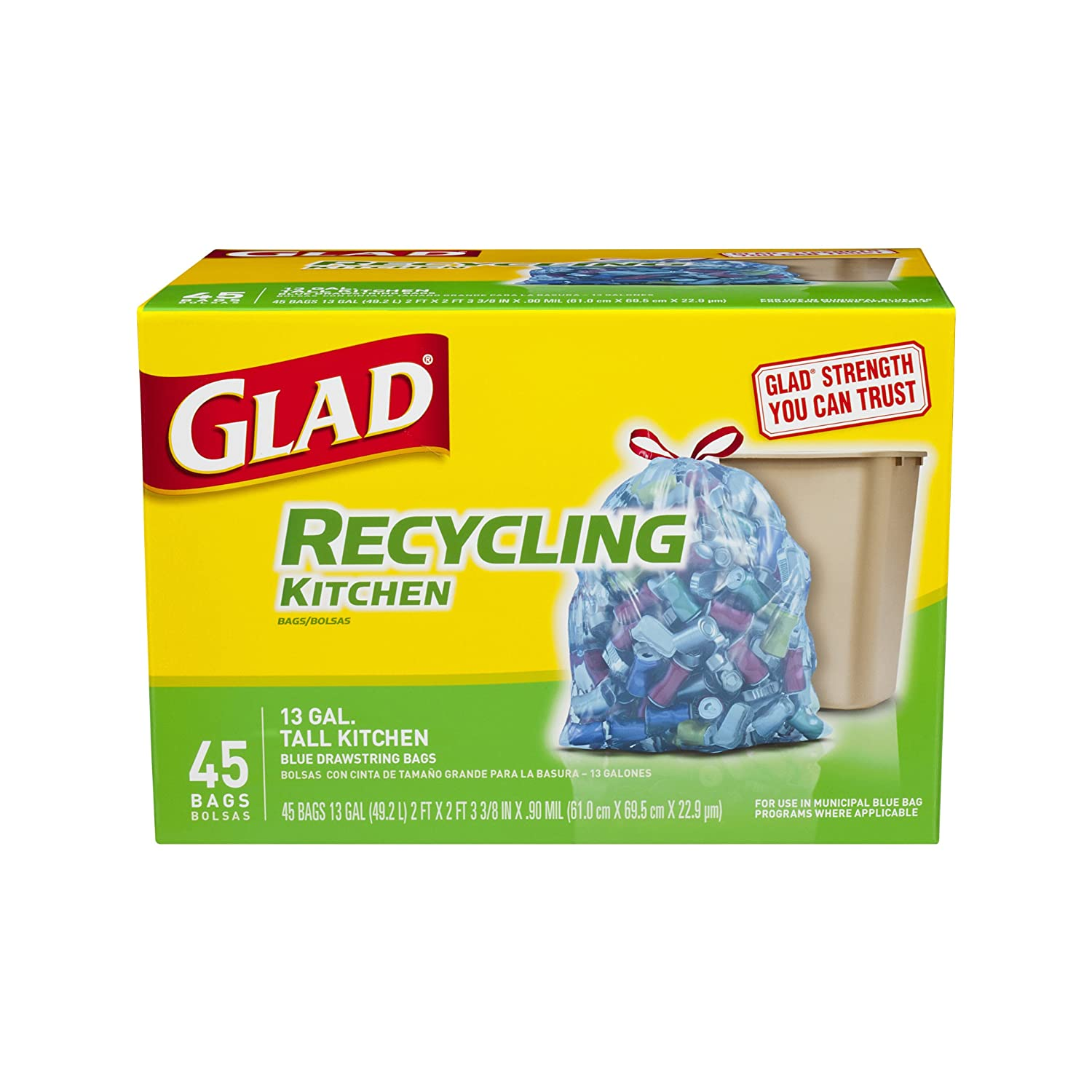 Amazon.com: Glad Recycling Tall Kitchen Drawstring Trash Bags, Blue, 13  Gallon, 45 Count (Packaging May Vary): Health U0026 Personal Care