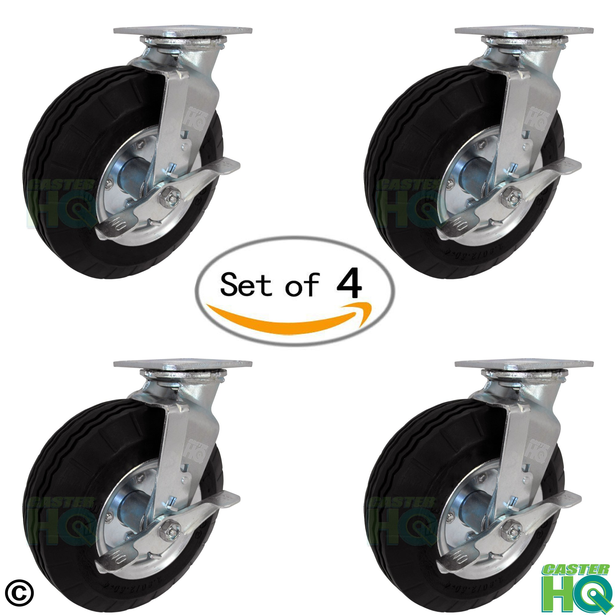 8'' x 2-3/4'' Swivel Plate Caster with Brakes - Flat Free - No Flat Pneumatic Wheel, 1,000 lb Capacity Set of 4 - CasterHQ Brand