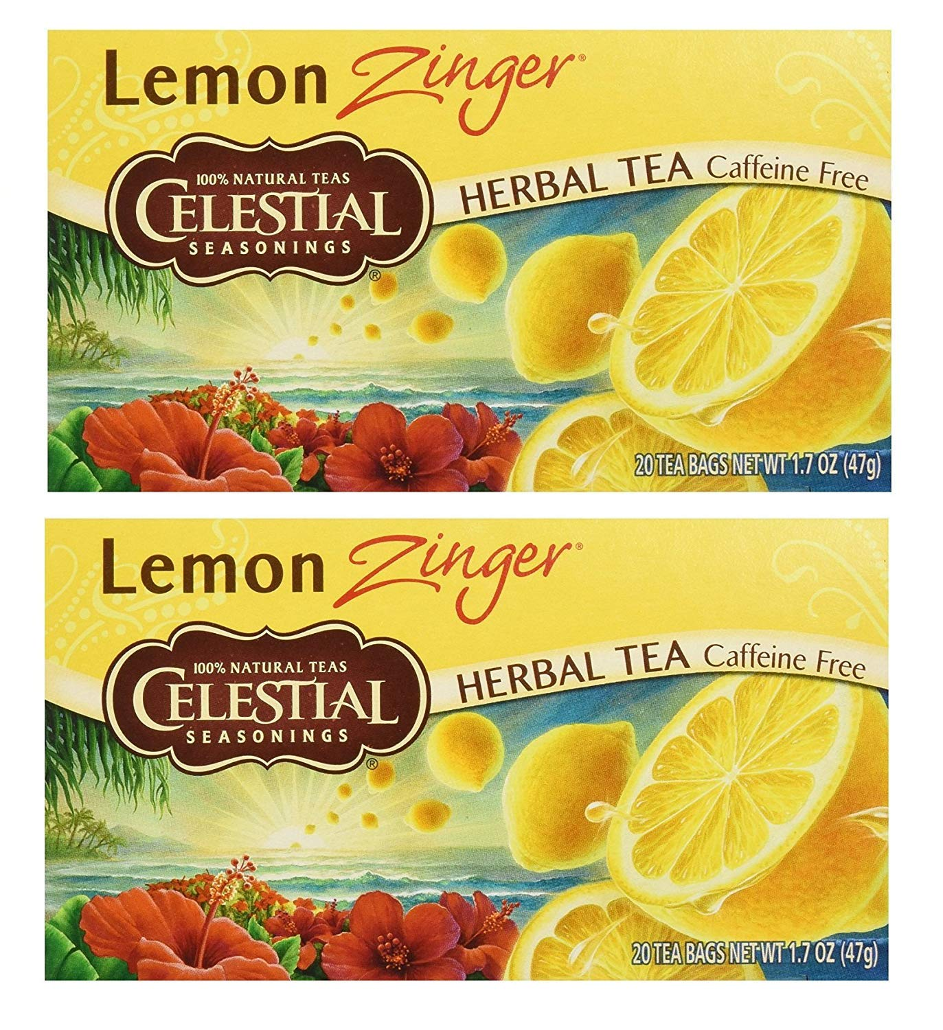 Celestial Seasonings Herbal Tea, Lemon Zinger, (2 Pack)