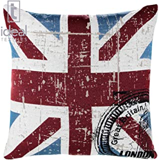 Vintage Union Jack Cushion Cover Postmarked London Great Britain Machine Washable 18