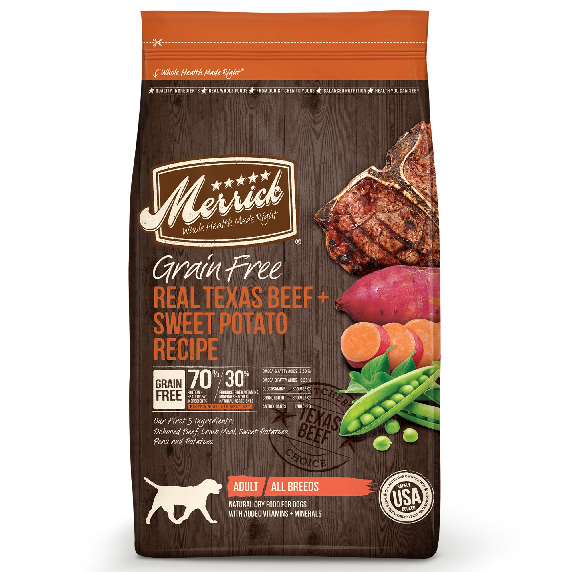Merrick Grain Free Real Texas Beef & Sweet Potato Dry Dog Food, 25 lbs.
