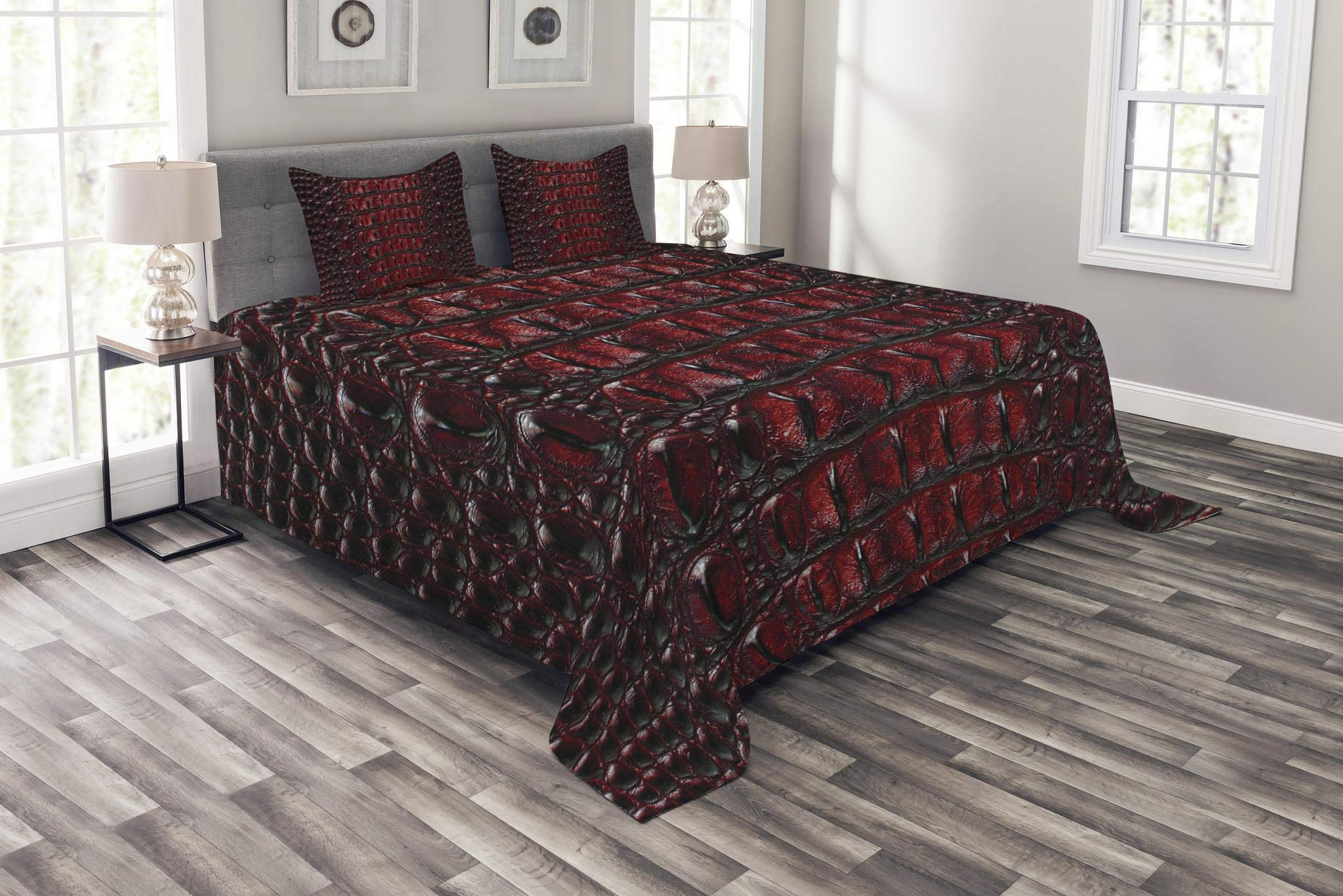 Lunarable Animal Print Bedspread Set King Size, Freshwater Crocodile Bone Skin Pattern Tropical Wilderness Fashion Themed Art, Decorative Quilted 3 Piece Coverlet Set with 2 Pillow Shams, Burgundy