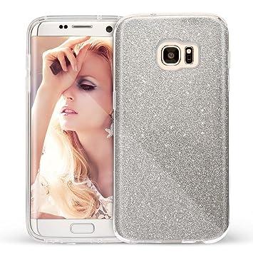 Coovertify Funda Purpurina Brillante Plateada Samsung S7 Edge, Carcasa resistente de gel silicona con brillo gris Plata para Samsung Galaxy S7 Edge ...