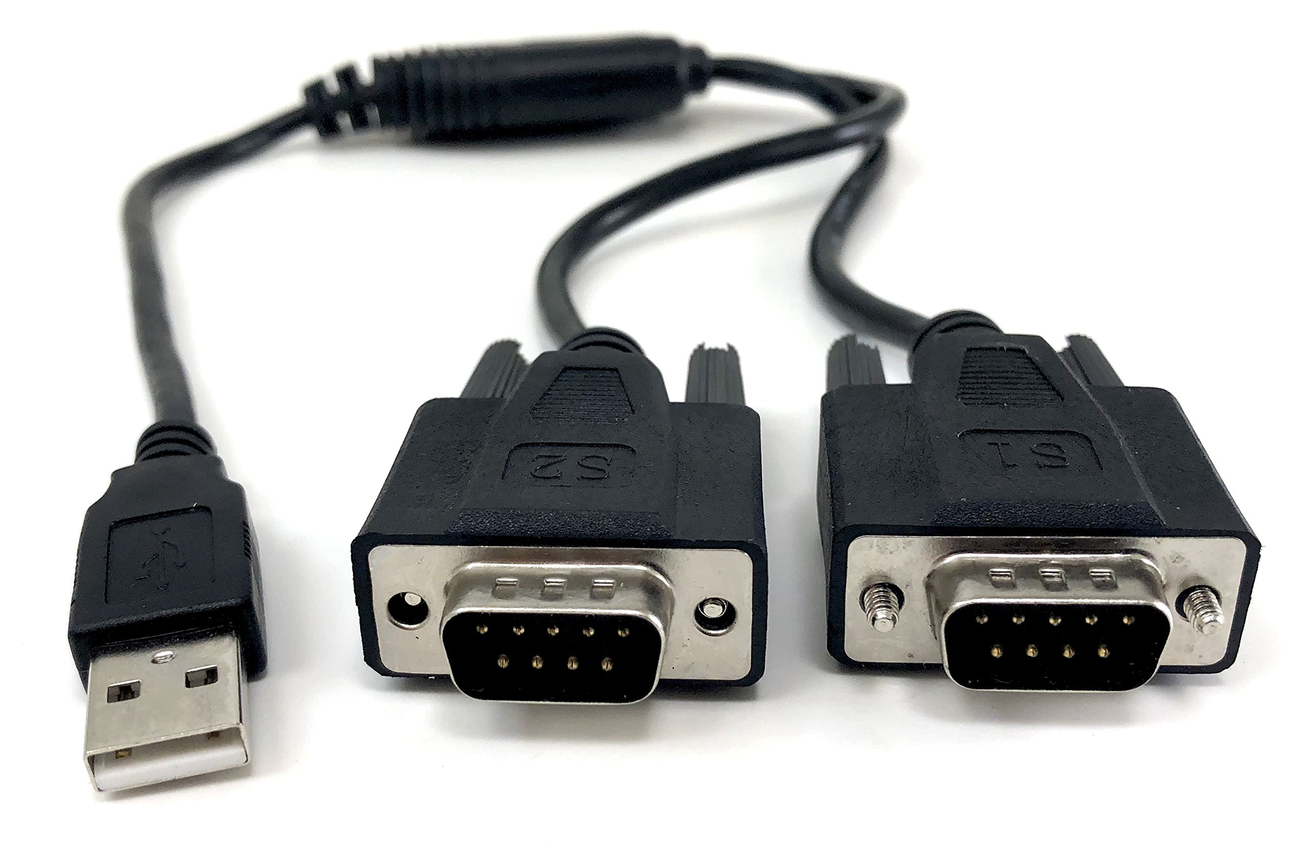 Micro Connectors, Inc. Plug and Play USB to Dual Serial DB9 Adapter Windows 10 / Win 8/ 7/ XP/ Vista / Mac (E07-162) by MICRO CONNECTORS