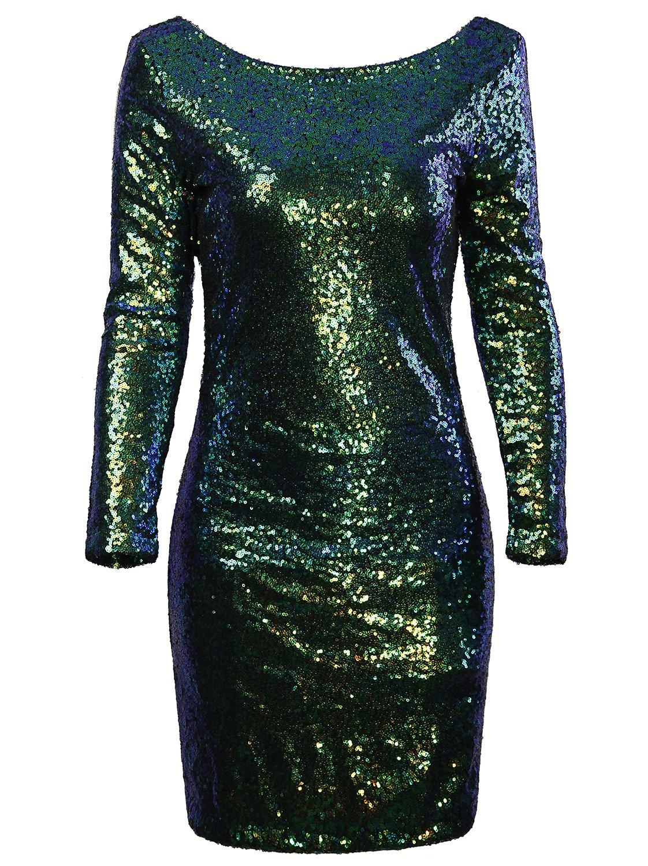 Vijiv Women's Sparkle Glitzy Glam Sequin Long Sleeve Flapper Party Club Dress , Multicolor Green , X-Large