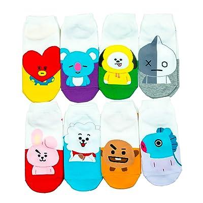 Womens Kpop BTS TXT Cartoon Socks (White-Animal-8) at Women's Clothing store