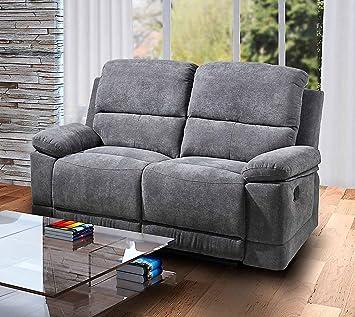 Lifestyle4living 2 Sitzer Sofa In Grauer Microfaser Mit Praktischer