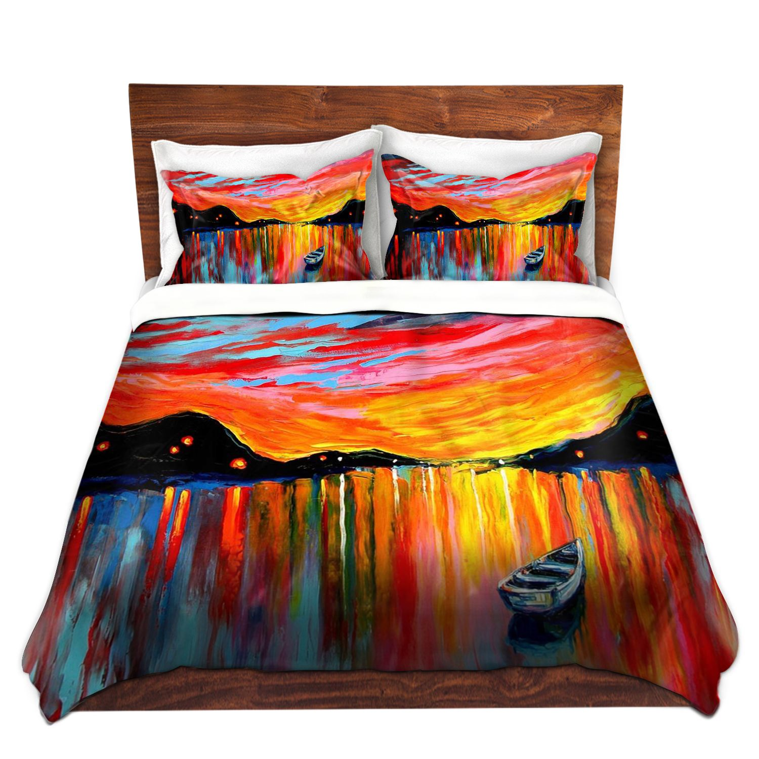 DiaNoche Designs Ann Unique Home Decor Bedding Ideas Red Sky At Night Cover, 7 Queen Duvet Sham Set
