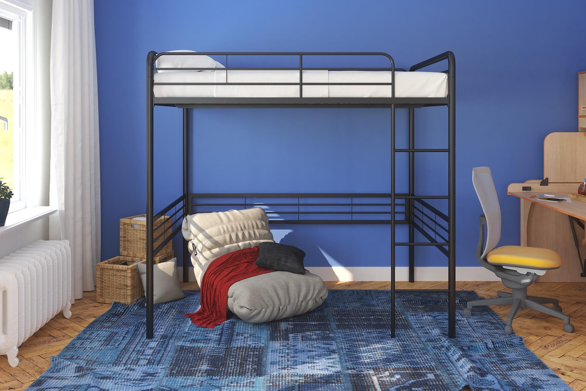 DHP Black Metal Loft Bed with Memoir 6'' Mattress, Full