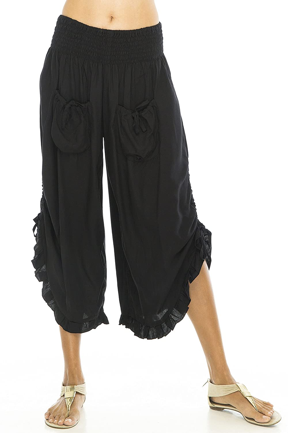 Women's Cropped Ruffled Wide Leg Black Lady Pirate Pants - DeluxeAdultCostumes.com