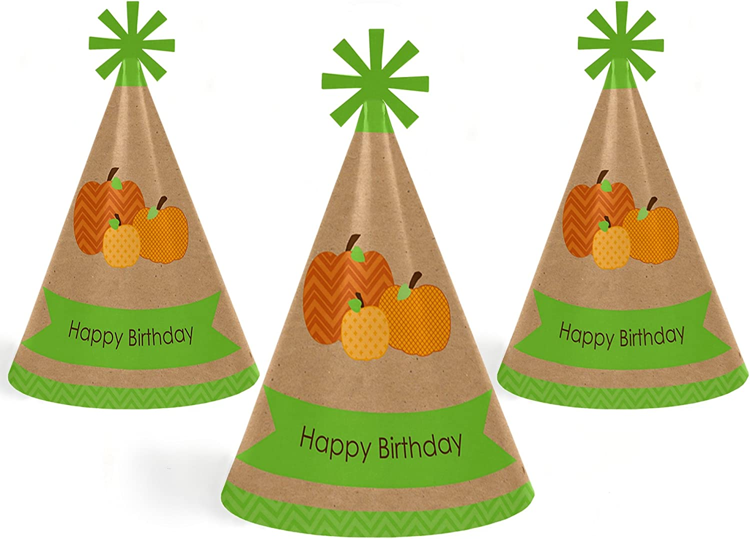 Set of 8 Halloween or Thanksgiving Cone Happy Birthday Party Hats for Kids and Adults Fall Standard Size Big Dot of Happiness Pumpkin Patch